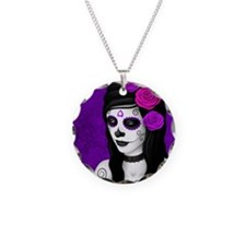 Day of the Dead Girl with Purple Roses Necklace