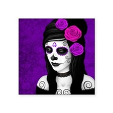 Day of the Dead Girl with Purple Roses Sticker