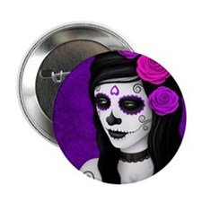 """Day of the Dead Girl with Purple Roses 2.25"""" Butto"""