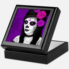 Day of the Dead Girl with Purple Roses Keepsake Bo