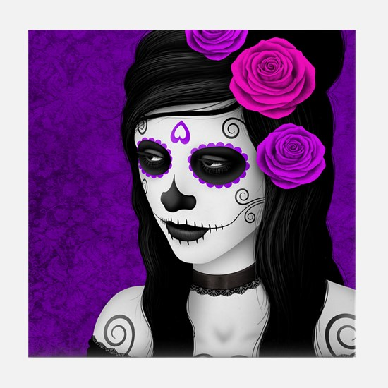 Day of the Dead Girl with Purple Roses Tile Coaste