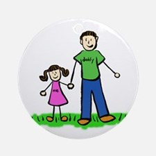 Father and Daughter (Brunette) Ornament (Round)