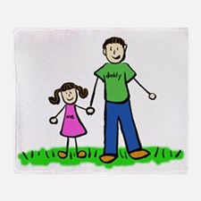 Father and Daughter (Brunette) Throw Blanket