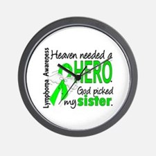 Lymphoma HeavenNeededHero1 Wall Clock