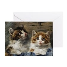 Two lovely kittens in a basket Greeting Card