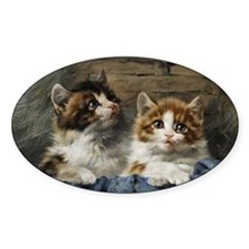 Two kittens in a basket painting Decal