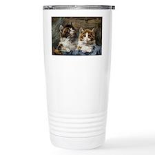 Two kittens in a basket Travel Mug