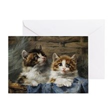 Two kittens in a basket painting Greeting Card