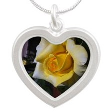 Yellow Rose - Friendship Silver Heart Necklace