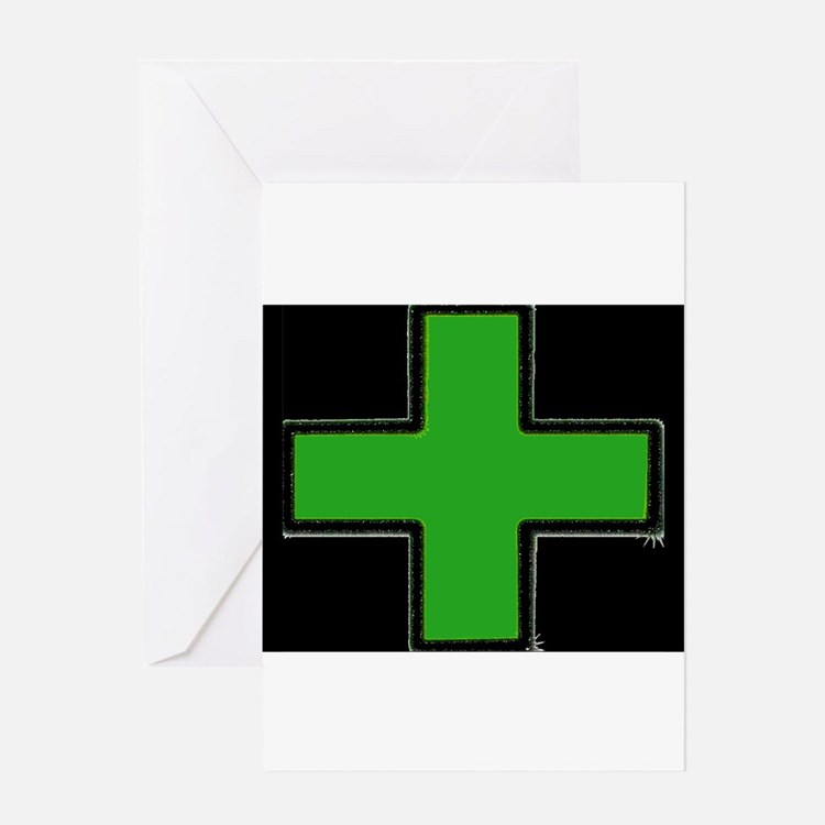 Green Medical Cross (Bold/ black background) Greet