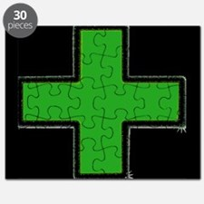 Green Medical Cross (Bold/ black background) Puzzl