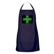 Green Medical Cross (Bold/ black background) Apron