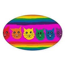 gay rainbow cats art signed Decal