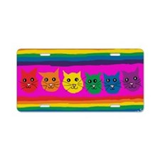 gay rainbow cats art signed Aluminum License Plate