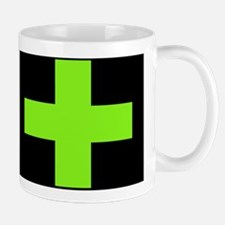 Neon Green Medical Cross (black background) Mugs
