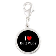 Butt Plugs Silver Round Charm