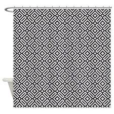 Black and White Modern Diamond Pattern Shower Curt