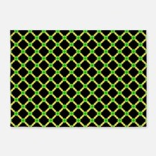 Yellow and Black Cross Hatch Pattern 5'x7'Area Rug