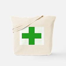Green Medical Cross Tote Bag