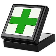 Green Medical Cross Keepsake Box
