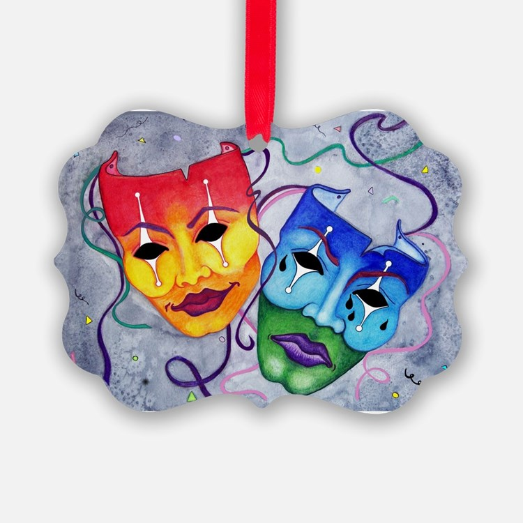 Comedy and Tragedy Wider size Ornament
