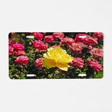 Single yellow rose Aluminum License Plate