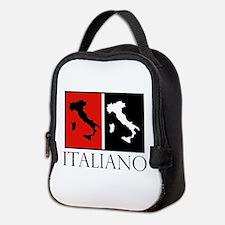 Italiano: Red Black Neoprene Lunch Bag