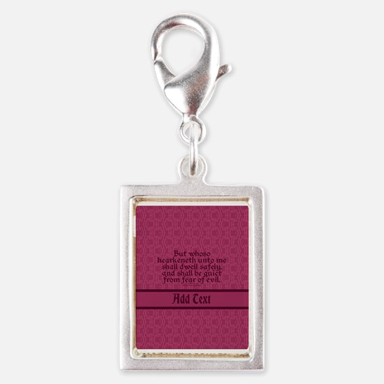 Proverbs 1 33 The Word rose Silver Portrait Charm