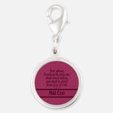 Proverbs 1 33 The Word rose Silver Round Charm