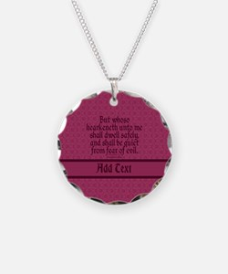Proverbs 1 33 The Word rose Necklace