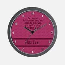 Proverbs 1 33 The Word rose Wall Clock