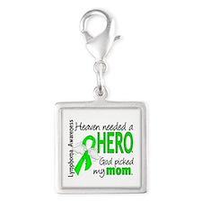 Lymphoma HeavenNeededHero1 Silver Square Charm