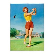 Pin Up Girl, Golfer, Vintage Poster 5'x7'area Rug