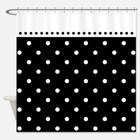 Black And White Polka Dot Pattern Shower Curtain