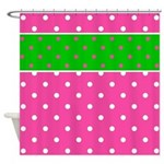 Fun And Colorful Polka Dot Pattern Shower Curtain