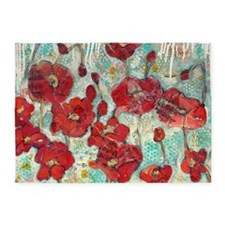 glowing Poppies 5'x7'Area Rug