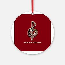 Custom Red Treble Clef Music Desi Ornament (Round)