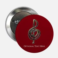 """Custom Red Treble Clef Musi 2.25"""" Button (10 pack)"""