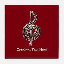 Custom Red Treble Clef Music Design Tile Coaster