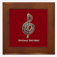 Custom Red Treble Clef Music Design Framed Tile