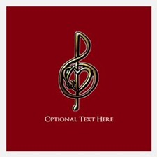 Custom Red Treble Clef Musi 5.25 x 5.25 Flat Cards