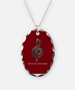 Custom Red Treble Clef Music D Necklace