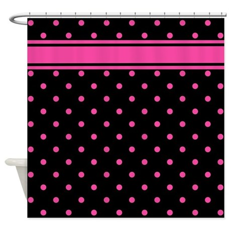 Pink Polka Dots Black Background Shower Curtain By