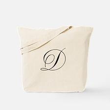 D Initial Black Script Tote Bag
