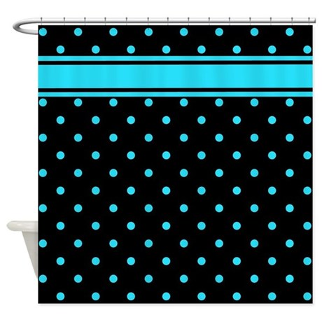 Teal Polka Dots Black Background Shower Curtain By Stolenmomentsph