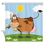 Cute Cow Cartoon Shower Curtains