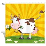 Cute Cartoon Cow Shower Curtains