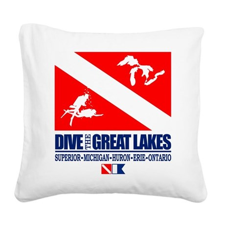 Dive The Great Lakes Square Canvas Pillow