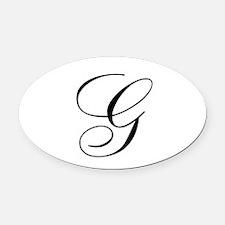 G Initial in Black Script Oval Car Magnet