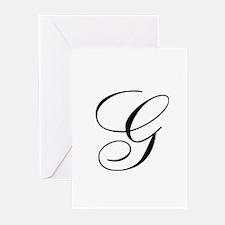 G Initial in Black Script Greeting Cards